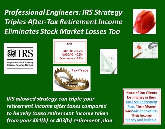 Professional Engineers Eliminate Stock Market Losses with IRS Strategy and Triples After-Tax Retirement Income Too